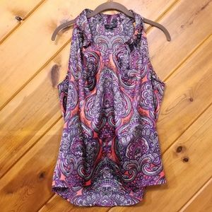 The Limited Silky Top Paisley Purple Red Orange